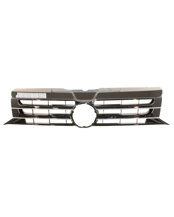 Front Grille with Hole for Badge Gloss Black with Chrome Trim
