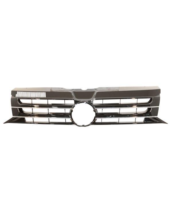 Frontgrill mit Loch für Emblem, Schwarz glänzend, mit Chromzierleiste