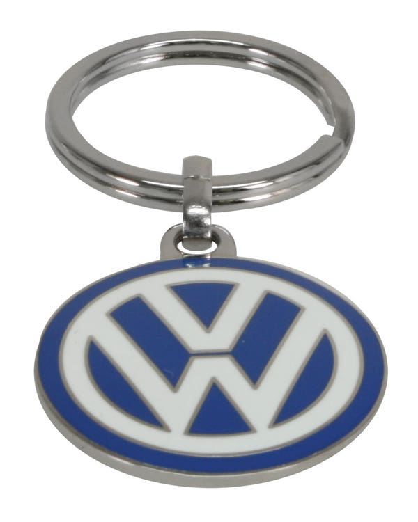 Keyring Double Sided Blue Enamel VW Logo Small