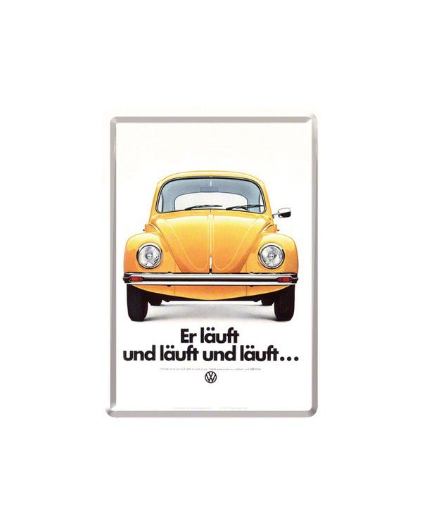 Metal Postcard 10x14cm Yellow Beetle Er lauft und lauft
