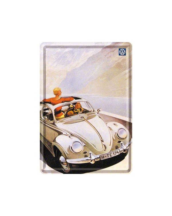 Postkarte, Metall, 10x14 cm, Käfer, Cabriolet