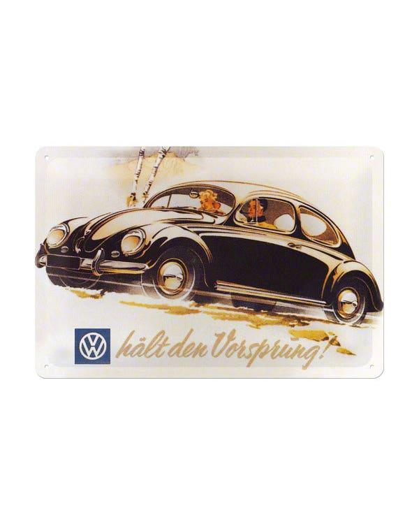 Metal Postcard 10x14cm Beetle halt den vorsprung