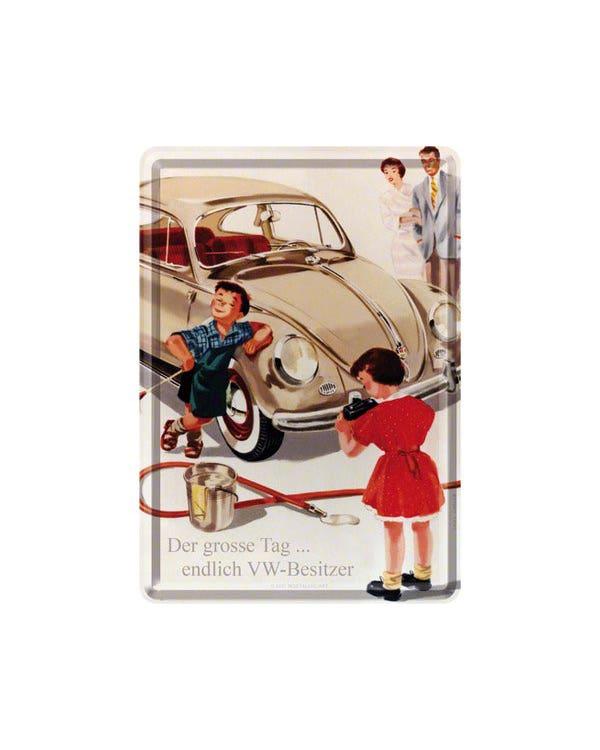 Metal Postcard 10x14cm Beetle Der grosse tag