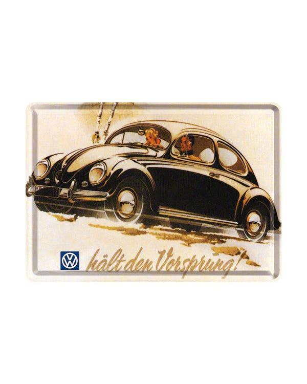 """Metallschild, 20x30 cm, Käfer mit """"Halt den Vorsprung"""""""