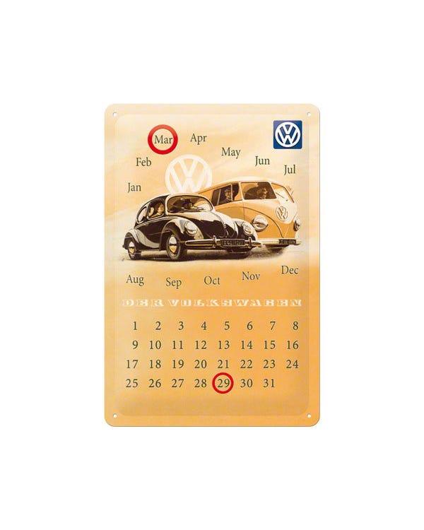 """Metallschild, 20x30 cm, Käfer und T1 Bus mit """"Der Volkswagen-Kalendar"""""""