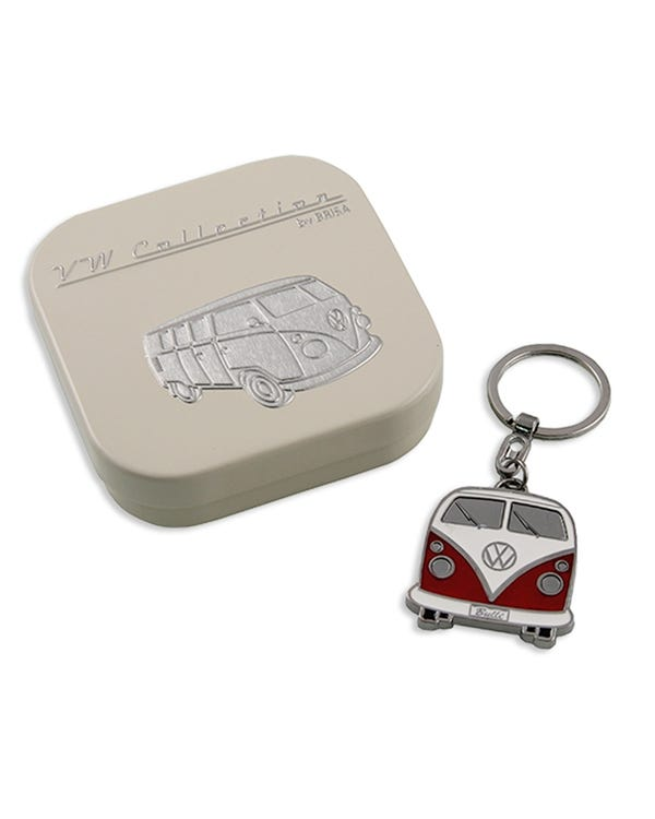 Llavero de esmalte rojo y blanco de Split Screen con caja de regalo