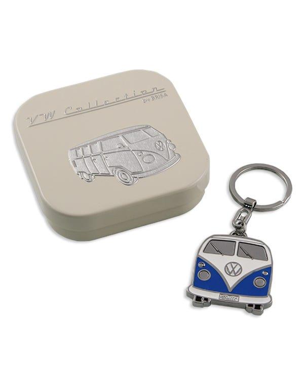 Llavero de esmalte azul y blanco de Split Screen con caja de regalo