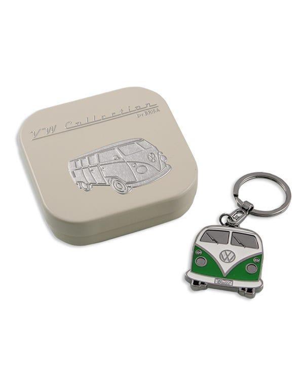 Keyring Green and White Enamel Splitscreen Bus with Gift Box
