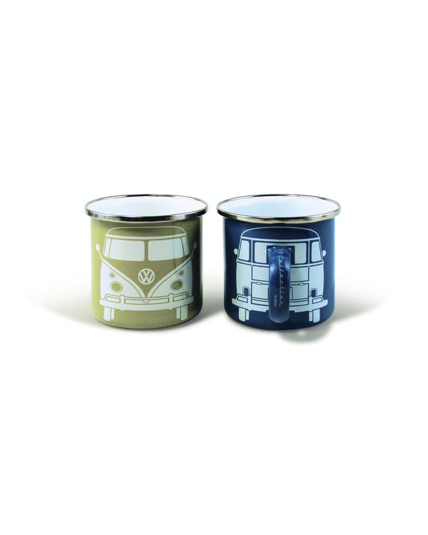 Enamel Cup Set with a Splitscreen Bus Design