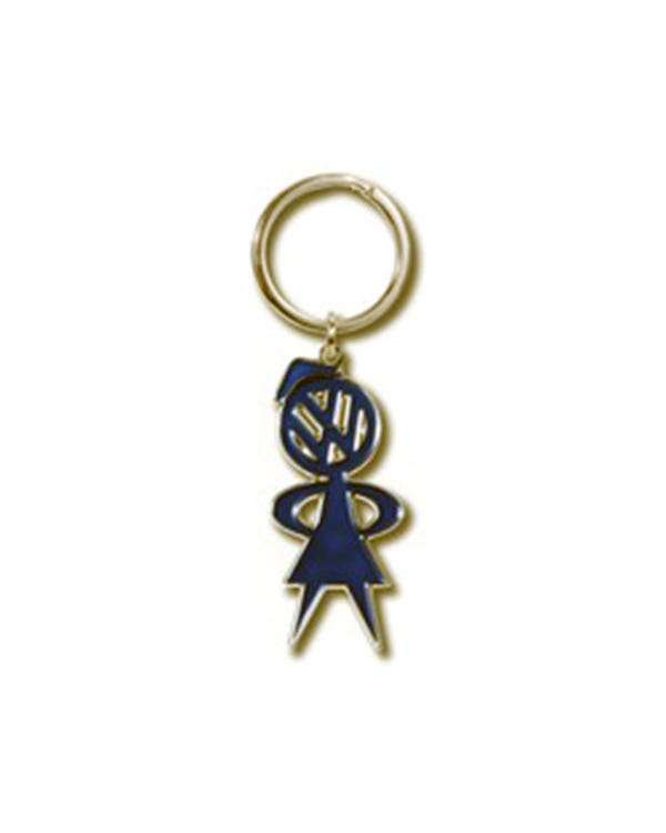 Keyring Double Sided Blue Enamel Miss Bubble Head Logo