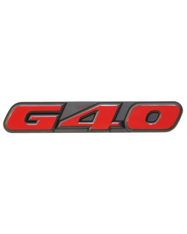 G40-Schriftzug, vorne, rot