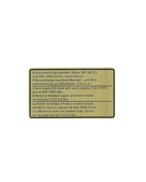 Adhesivo. Pegatina nivel de aceite