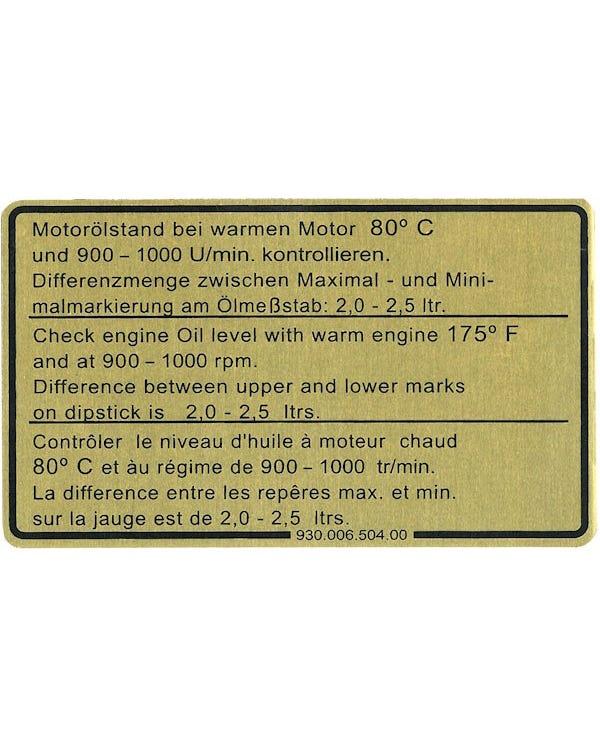 Engine Oil Level Sticker