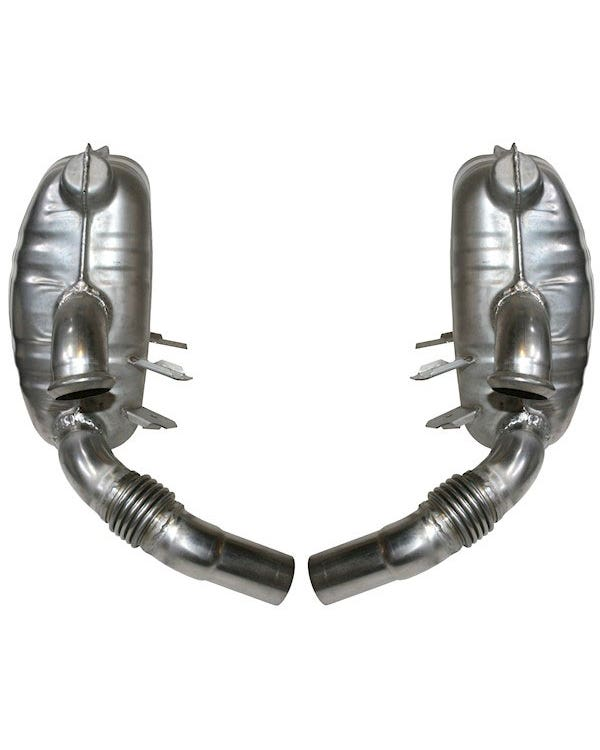 Exhaust Rear Silencer, Pair, Stainless Steel