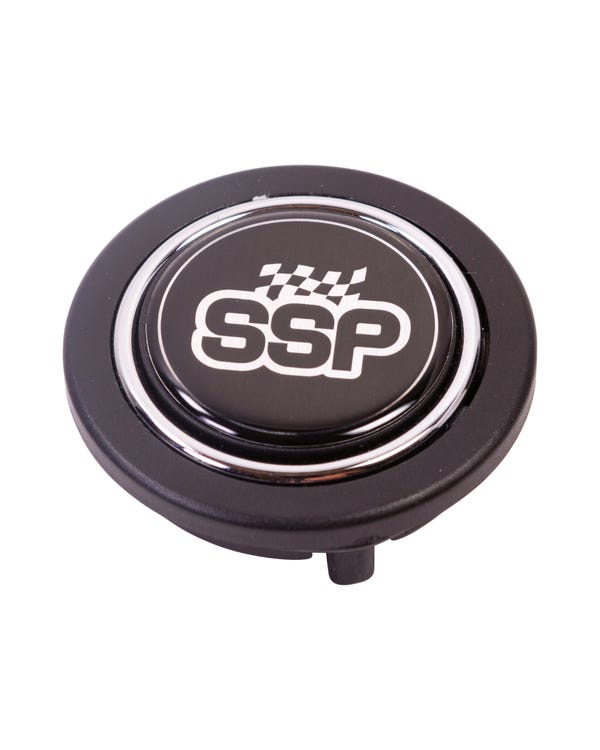 SSP Horn Press, Black Plastic with Chrome Ring for 6 Bolt Steering Wheels