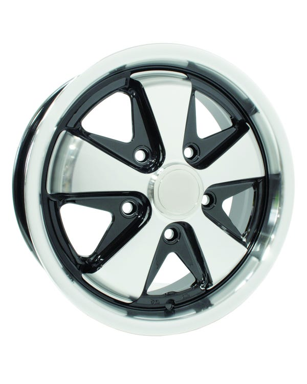 "SSP Fooks Alloy Wheel Black and Polished 5.5x15"", 5/112 PCD, 4.04"" BS"