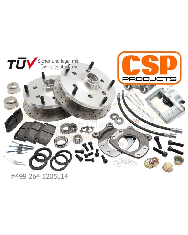 CSP Front Cross Drilled Disc Brake Conversion Kit with 5x205 Stud Pattern for 14''Wheel