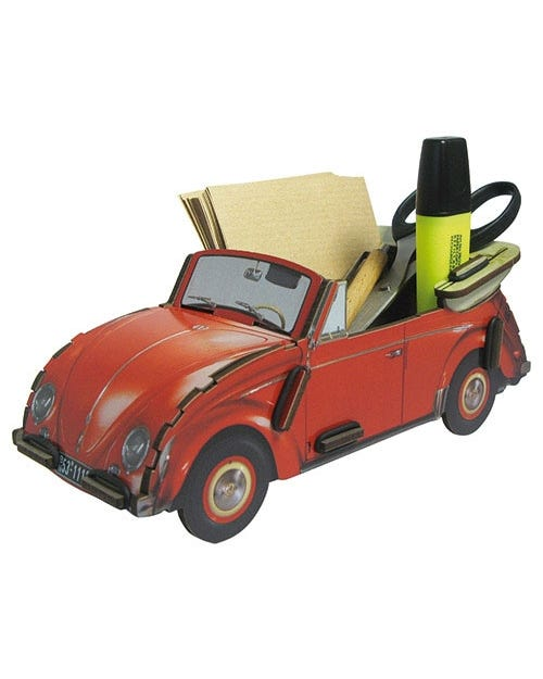 Desk Tidy Pencil Box Beetle Red