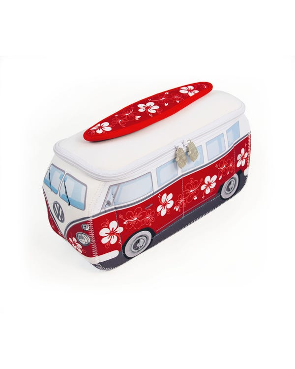 VW Splitscreen Neoprene Bag in Red and White Hibiscus Flowers
