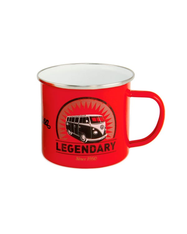 Enamel Coffee Cup in Red with a Splitscreen Design