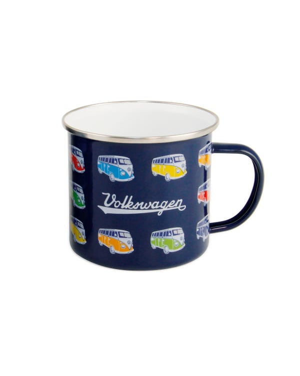 Enamel Coffee Cup in Blue with Splitscreen Buses
