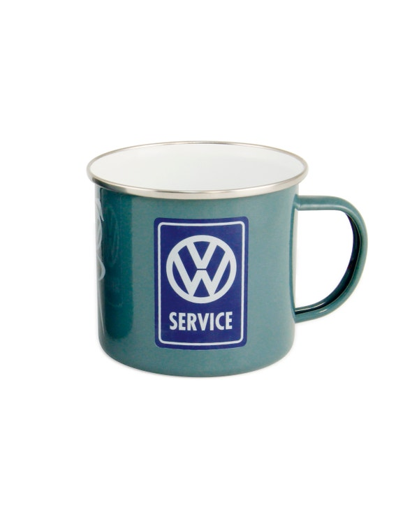 Enamel Coffee Cup with a VW Service Logo