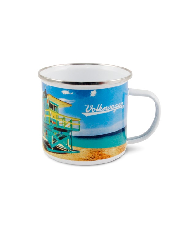 Enamel Coffee Cup with a Beach Scene