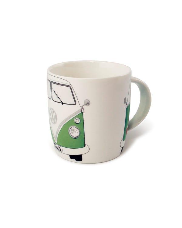 Porzellan Kaffeetasse, mit grün-weißem T1 Bus