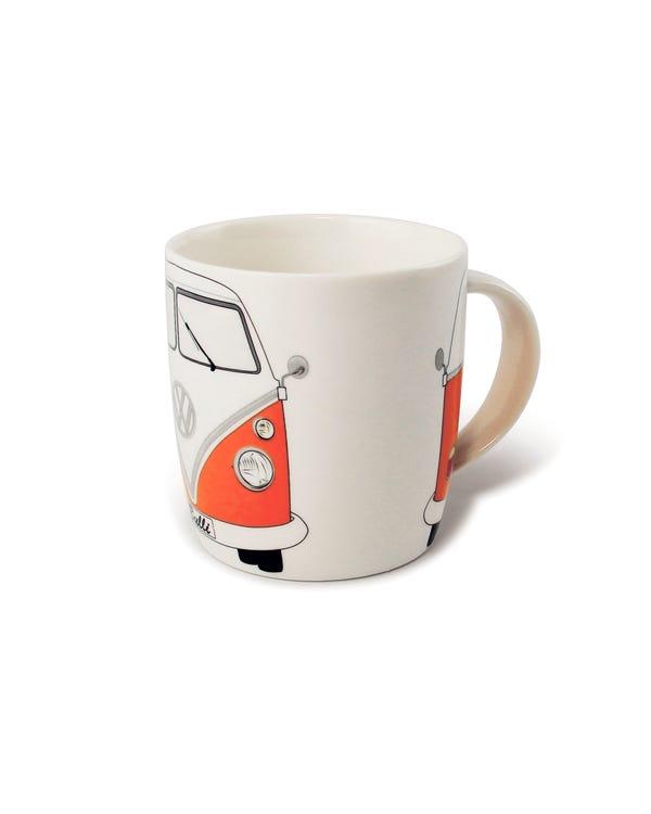 Porzellan Kaffeetasse, mit orange-weißem T1 Bus
