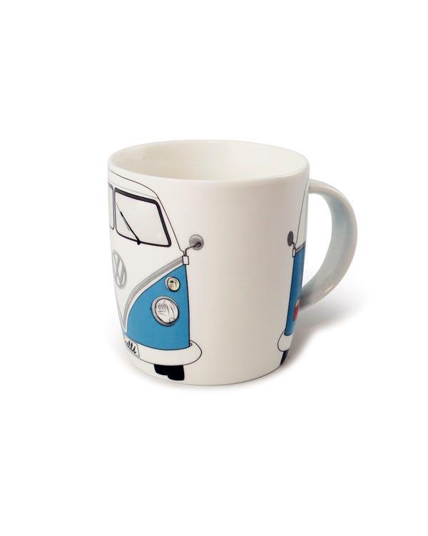Porzellan Kaffeetasse, mit blau-weißem T1 Bus