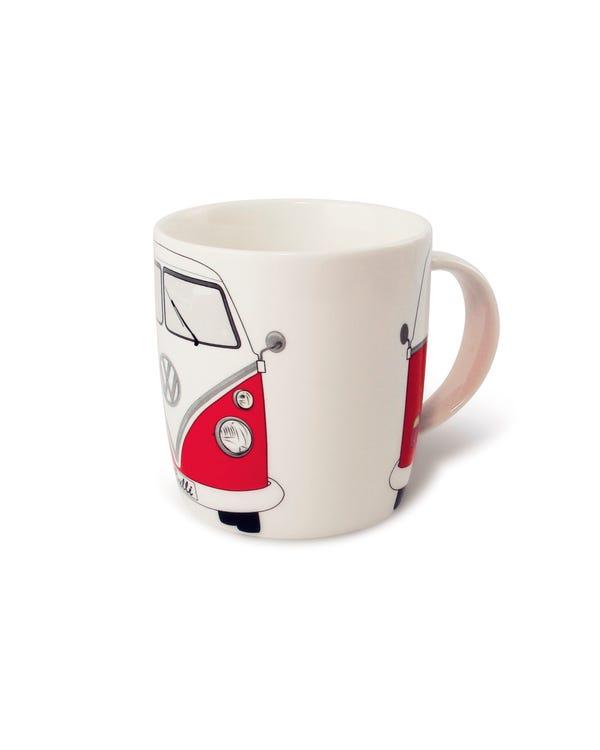 Porzellan Kaffeetasse, mit rot-weißem T1 Bus