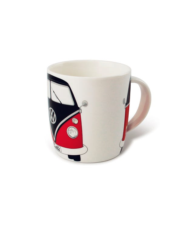 China Coffee Cup with a Red and Black Splitscreen