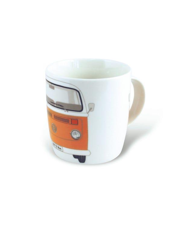 Porzellan Kaffee Tasse mit orangem T2 Bus