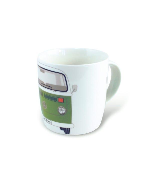 Porzellan Kaffeetasse mit grünem T2 Bus