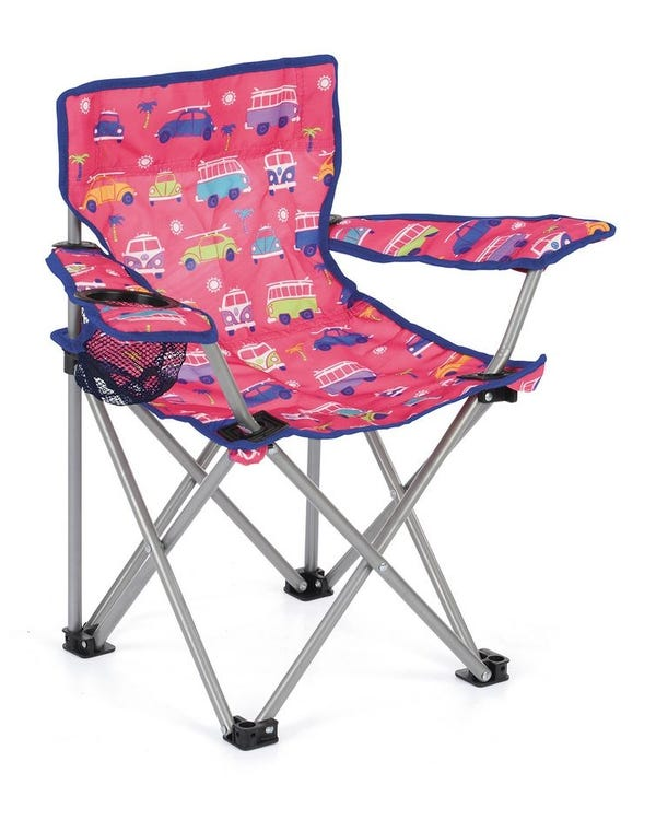 Kids Folding Camping Chair, Red with Splitscreens & Beetles