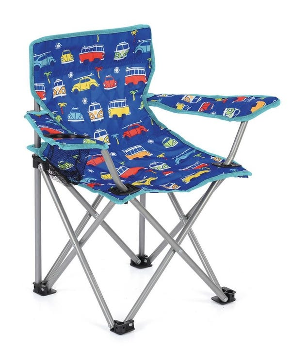 Kids Folding Camping Chair, Blue with Splitscreens & Beetles