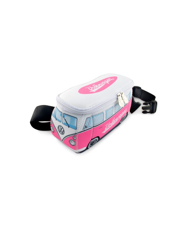 VW Splitscreen Neoprene Bum Bag in Pink and White