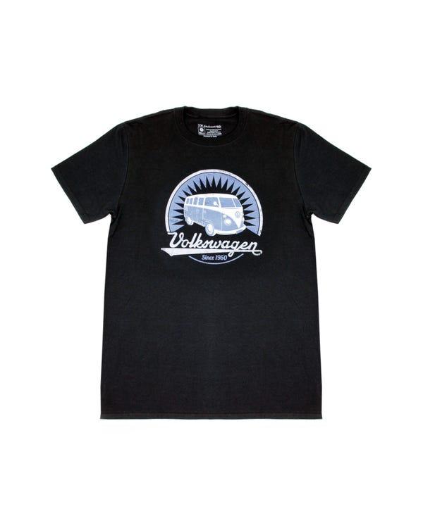 Camiseta negra con diseño Splitscreen azul, L
