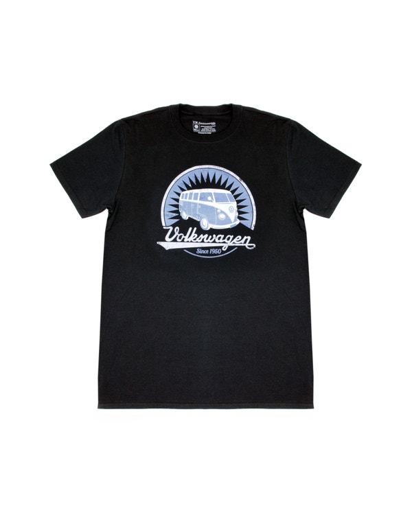 Black T Shirt featuring a Blue Splitscreen Design, Medium