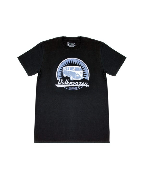 Black T Shirt featuring a Blue Splitscreen Design, Medium