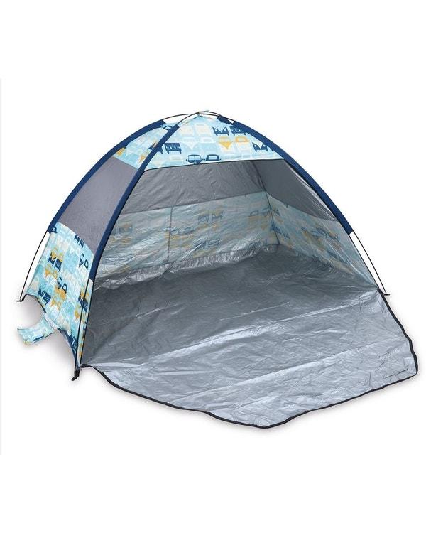 Beach Shelter featuring a Blue and Yellow Splitscreen Design