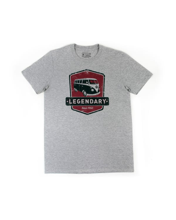 VW Splitscreen T Shirt in Grey with a Red Design, Large