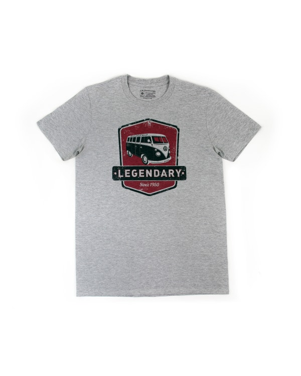 VW Splitscreen T Shirt in Grey with a Red Design, Small