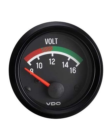 VDO Cockpit Voltmeter Gauge 52mm Black