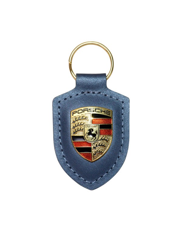 Llavero Porsche. Piel gris