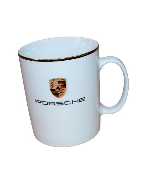Porsche Crest Mug with a Gold Rim
