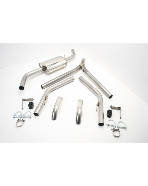 Stainless Steel Exhaust with Twin Single Turndown Tailpipes for Short Wheelbase