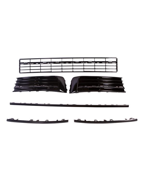Bumper Grilles including Trims, Front, 3 Piece Set, Gloss Black
