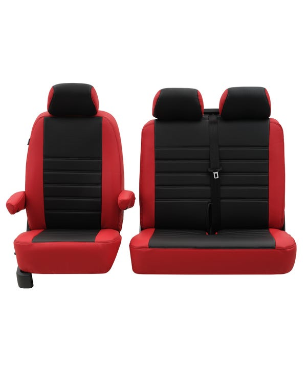 Front Seat Covers for 2+1 Configuration, Punched Leather Style - Red