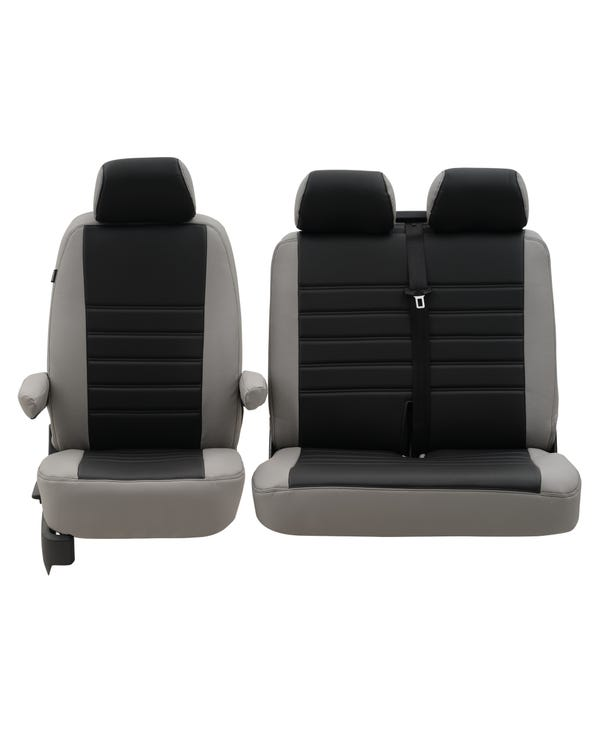 Front Seat Covers for 2+1 configuration, Punched Leather Style - Grey
